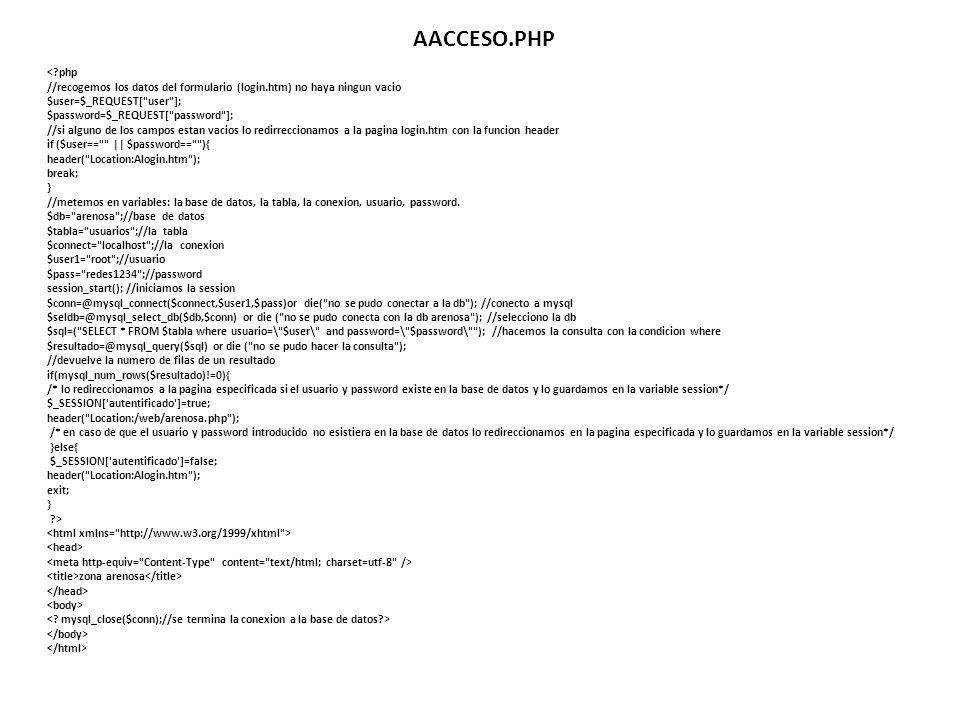 AACCESO.PHP < php. //recogemos los datos del formulario (login.htm) no haya ningun vacio. $user=$_REQUEST[ user ];